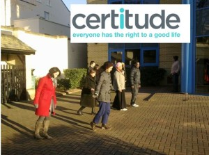 Image of Peer supporters from Certitude practicing mindful walking.